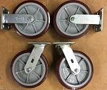 8inch Caster Wheels, Set of 4, 2 fixed and 2 swivel